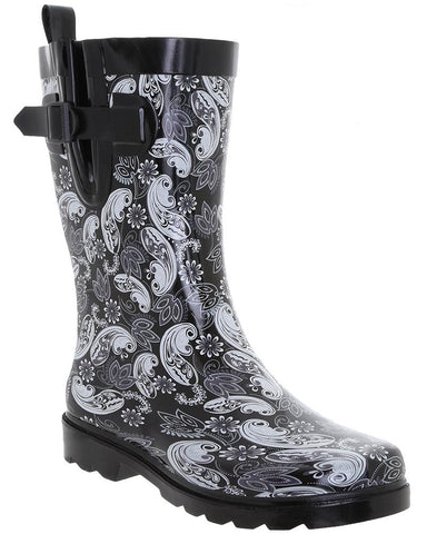 Ladies Ornate Paisley Printed Mid-Calf Rain Boot