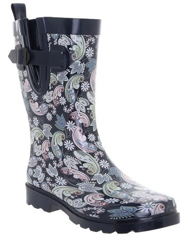Ladies Multicolored Ornate Paisley Mid-Calf Rain Boot