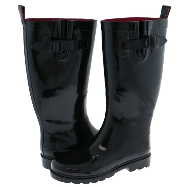 Ladies Solid Black Tall Rubber Rain Boot