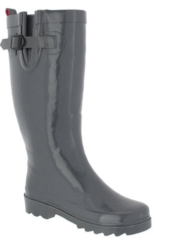 Ladies Solid Grey Tall Rubber Rain Boot