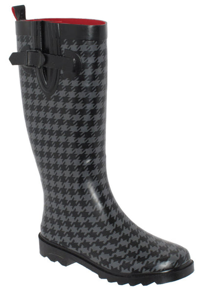 Ladies Houndstooth Tall Rubber Rain Boot