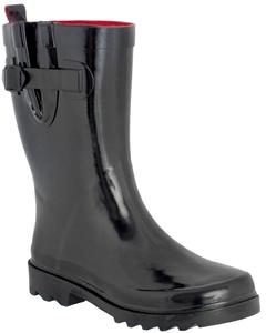Ladies Solid Black Mid-Calf Rain Boot