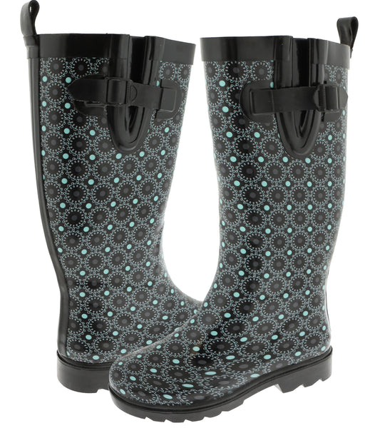 Ladies Dials and Dots Tall Rubber Rain Boot