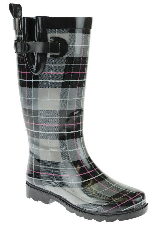 Ladies Check Printed Tall Rubber Rain Boot