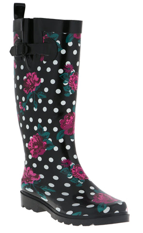 Ladies Floral Dots Tall Rubber Rain Boot