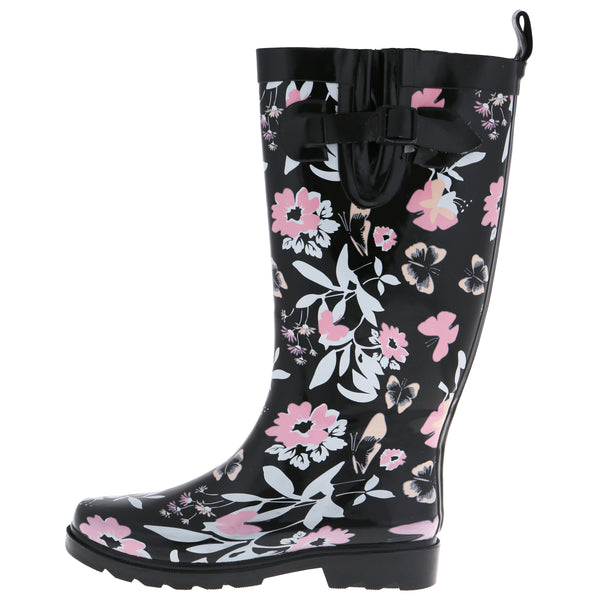 Ladies Butterfly Floral Tall Rubber Rain Boot
