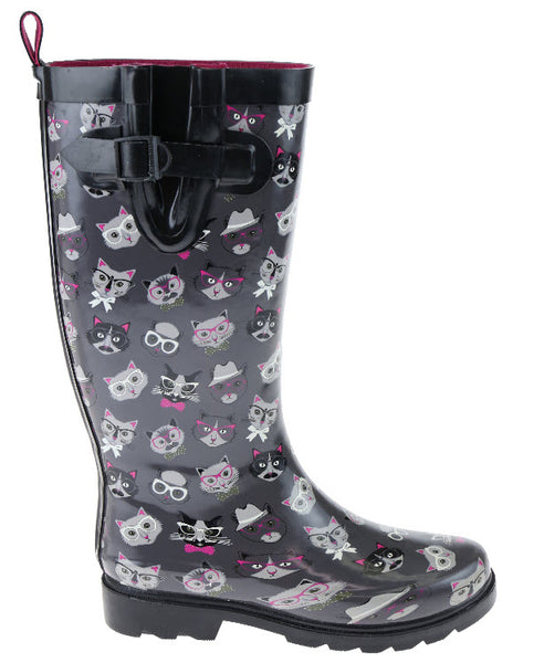 Ladies Cool Cats Tall Rubber Rain Boot