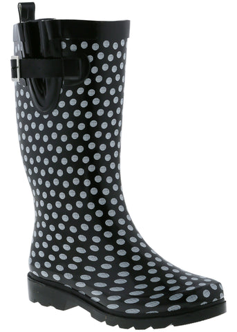 Ladies Dots Tall Rubber Rain Boot