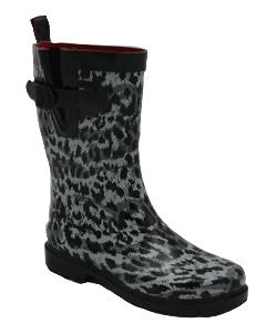 Ladies Leopard Mid-Calf Rain Boot