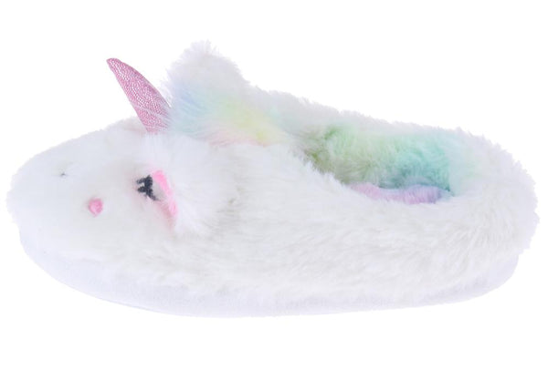 Girls Faux Fur White Unicorn Slipper