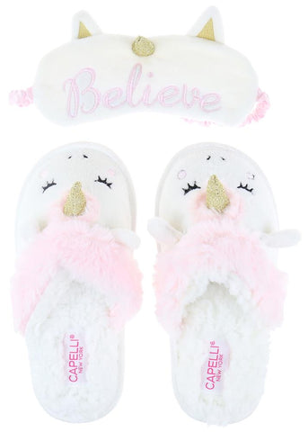 Girls Faux Fur White Slipper Set with Eye Mask