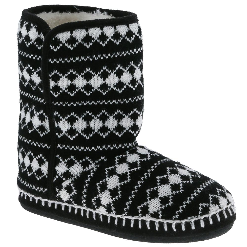 Ladies Black Diamond Knit Slipper Boot