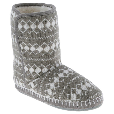Ladies Grey Diamond Knit Slipper Boot