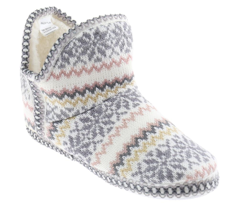 Ladies Fairisle Knit Slipper Boot