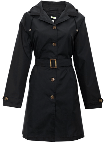 Ladies Solid Black Mid-Length Basic Rain Coat with Removable Hood