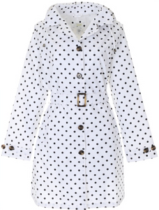 Ladies Dot Printed Mid-Length Basic Rain Coat with Removable Hood