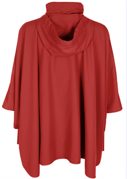 Ladies Solid Red Sporty Rain Cape with Front Zipper and Collar with Tucked in Hood