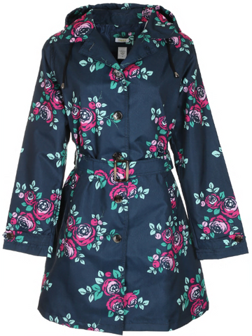 Ladies Floral Printed Mid-Length Basic Rain Coat with Removable Hood