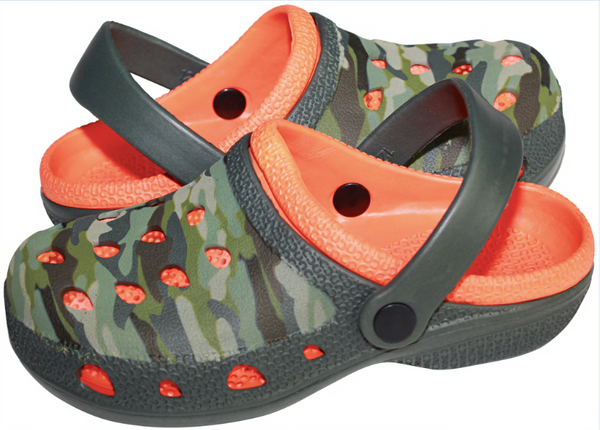 Boys Camo Printed Two Tone Clog with Backstrap