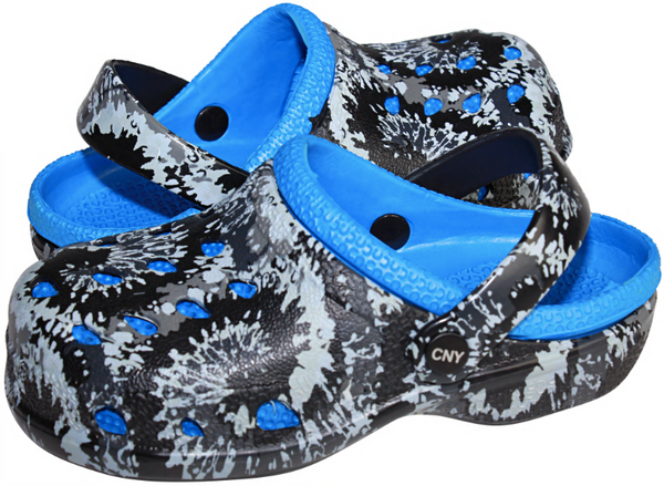 Boys Swirl Tie Dye Two Tone Clog with Backstrap