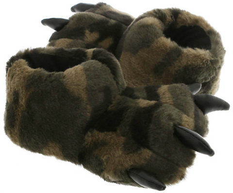 Boys Camo Faux Fur Bear Claw with 3D Contrasting Faux Leather Parts Indoor Slipper