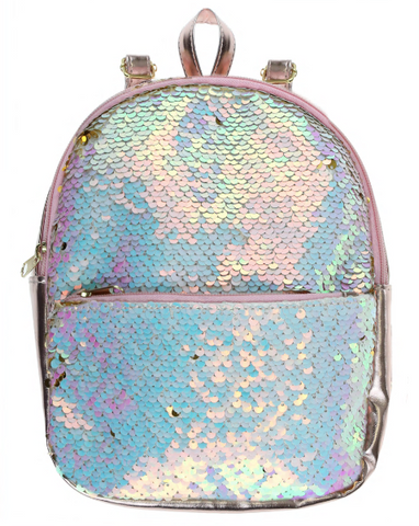 Reversible Sequin Mini Backpack with Straps - Gold and Muti-White Sequins