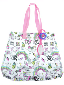 Cool Girly Stickers Printed Jelly Tote with Webbed Handle, Hairbrush and Hair Coils