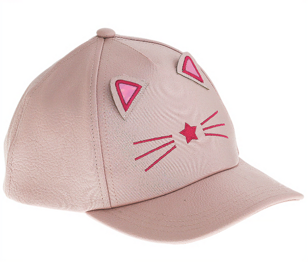 Star Kitty Crackled Faux Leather Baseball Hat