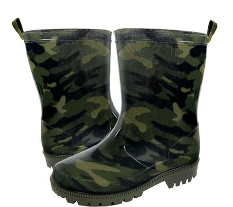 Boys Green Camo Rain Boot