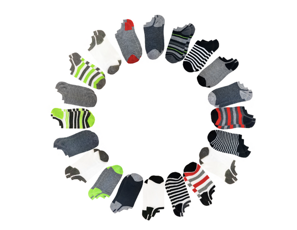 Multi-Colored Stripes 20 Pack No Show Socks