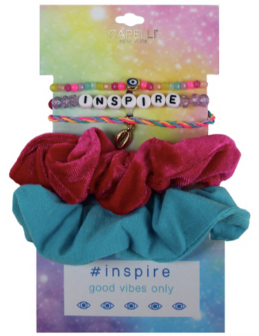 5 Piece VSCO Twister and 'Inspire' Bracelet Set