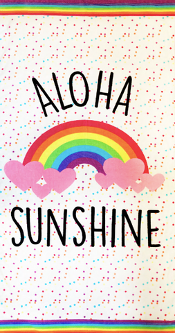 Aloha Sunshine Printed Cotton Velour Beach Towel Backpack Style