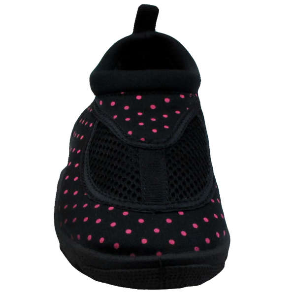 Girls Black and Pink Dotted Aqua Shoes