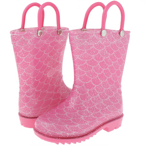Toddler Girls Shiny Mermaid Printed with Silver Glitter Rain Boot