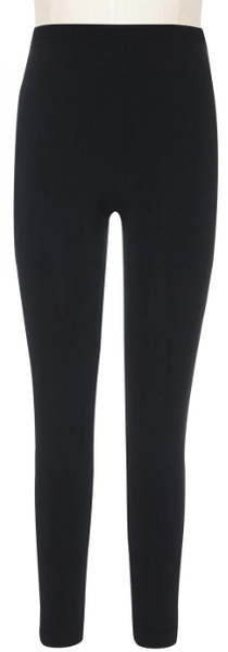 Girls Solid Black Fleece Lined Seamless Legging
