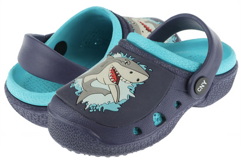 Boys Shark Printed Clog with Backstrap