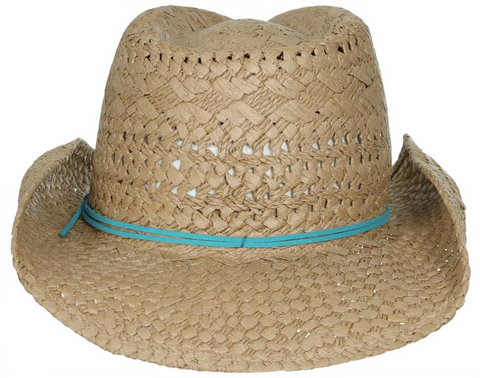 Twisted and Lala Straw Cowboy Hat with Turquoise Faux Suede Tie