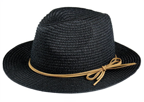 Black Light Weight Paper Braid Fedora with Faux Suede Tie