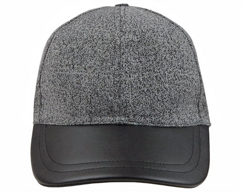 Marled Grey Baseball Hat with Faux Leather Brim