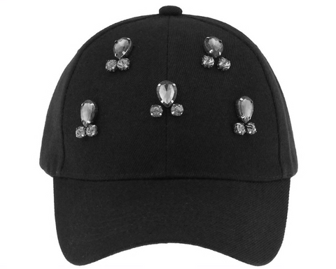 Twill Baseball Hat with Gem Clusters