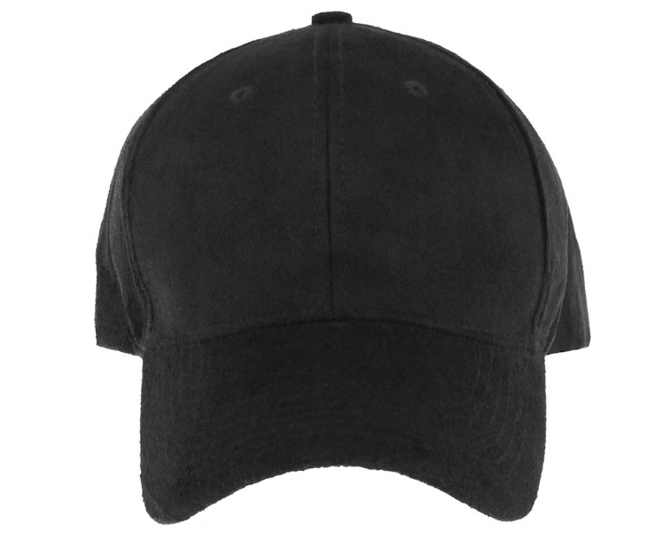 Faux Suede Baseball Hat with Twill Underbrim