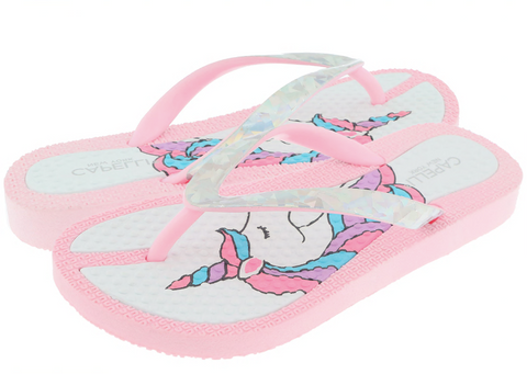 Girls Unicorn and Glitter Flip Flop