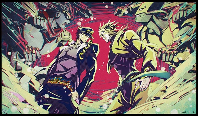 8 Strongest JoJo's Bizarre Adventure Characters - Jotaro Kujo with Star Platinum & Dio Brando with The World