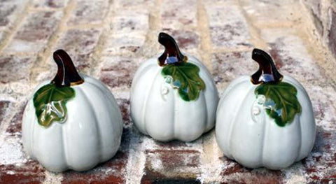 Ceramic Pumpkins White - 3pc - 1