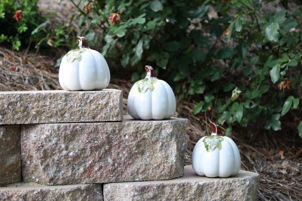 Ceramic Pumpkins White - 3pc - 2