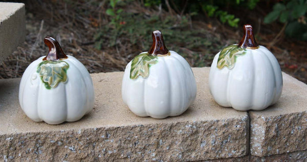 Ceramic Pumpkins White - 3pc - 3