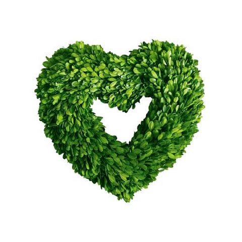 "Preserved Boxwood Wreath ""Heart"" 16"""