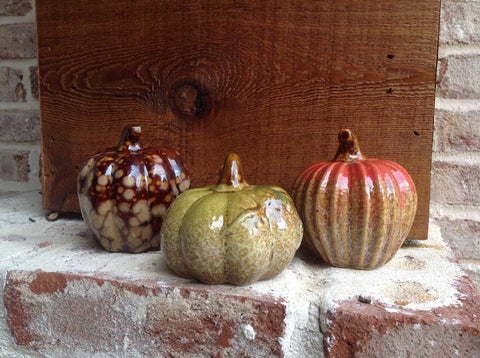 3pc Assorted Ceramic Pumpkins - 1