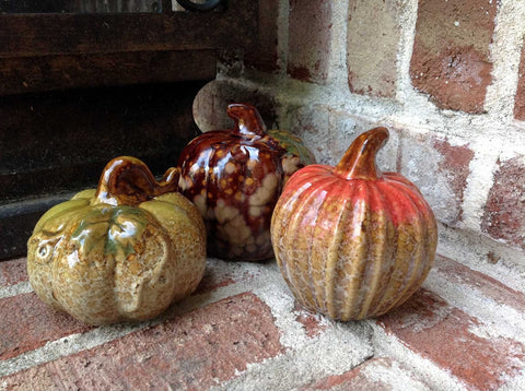 3pc Assorted Ceramic Pumpkins - 2