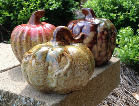 3pc Assorted Ceramic Pumpkins - 3